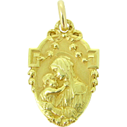 Lovely Antique French Medal ~ Madonna and child, 18kt gold, c.1900 - Red Tag Sale Item