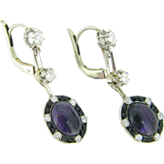 French Art Déco Amethyst, Onyx and diamonds Dormeuses ~ Earrings , 18kt gold and platinum