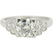French Art Deco diamonds wedding ring, platinum, c.1930