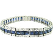 French Art Deco Sapphires & Diamonds bracelet, platinum circa 1920