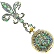 RARE Antique Fleur de Lys Brooch and Clock set with rose cut diamonds and emeralds, 18kt gold and silver, c.1850 - Red Tag Sale Item