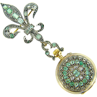 RARE Antique Fleur de Lys Brooch and Clock set with rose cut diamonds and emeralds, 18kt gold and silver, c.1850