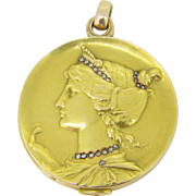Stunning Art Nouveau French Mirror ~ Pendant, goddess Hera, 18kt gold