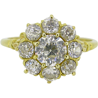 Antique Daisy Diamonds cluster ring, 18kt gold