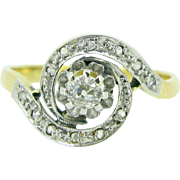French Art Nouveau Diamonds ring, 18kt gold and platinum, c.1910 ~ Swirl ring