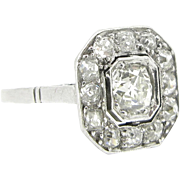 Geometric ART DECO Diamonds ring, 18kt gold and platinum, c.1930