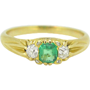 Beautiful Art Nouveau Emerald and diamonds ring, 18kt gold, c.1900