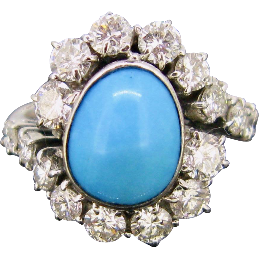 Vintage Twisted Turquoise and diamonds ring, 18kt white gold, c.1960
