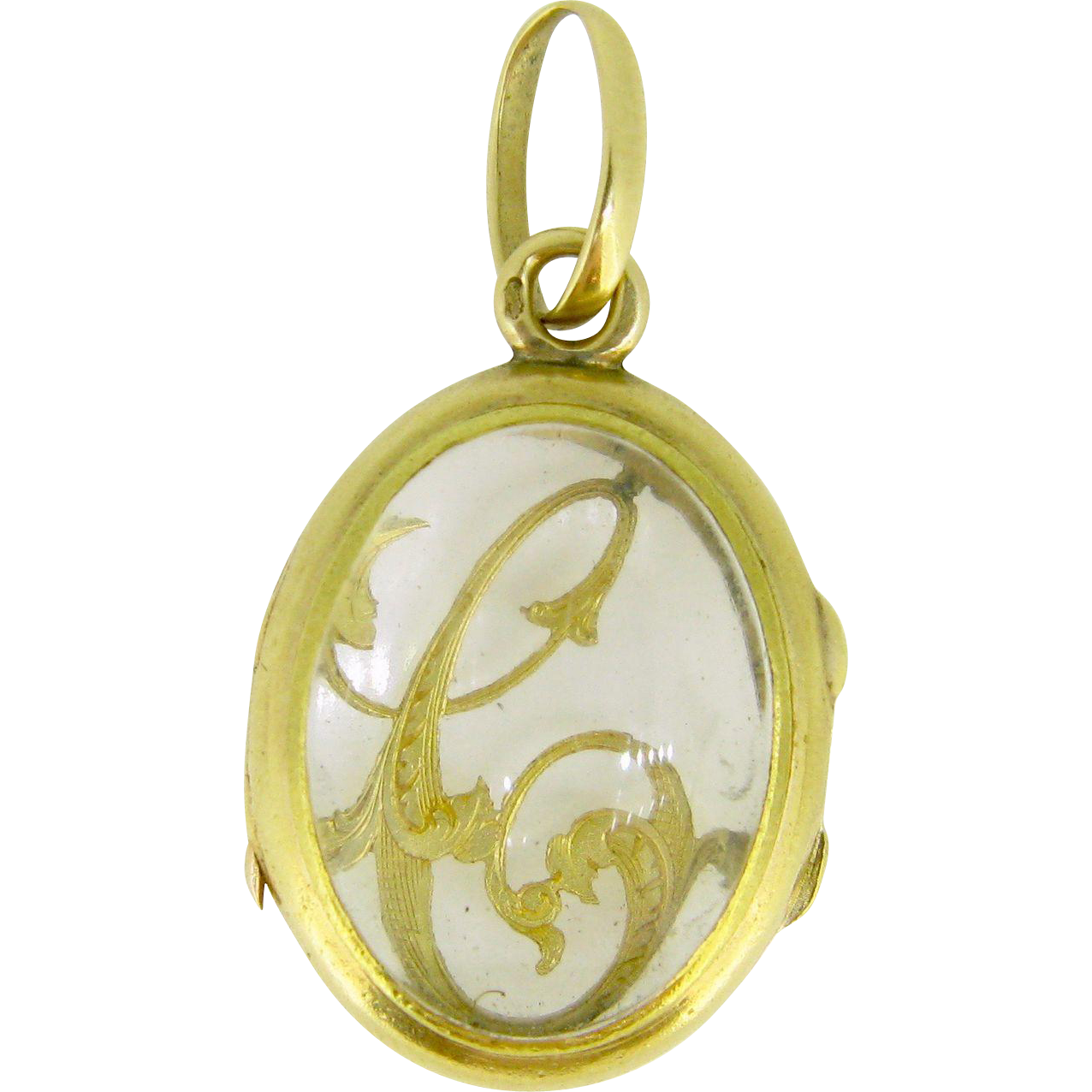 Antique French Glass Locket / Pendant with a Monogram , 18kt gold, c.1900