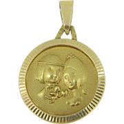 French Vintage medal : les Amoureux de Peynet (Peynet Lovers), by MURAT 18kt gold