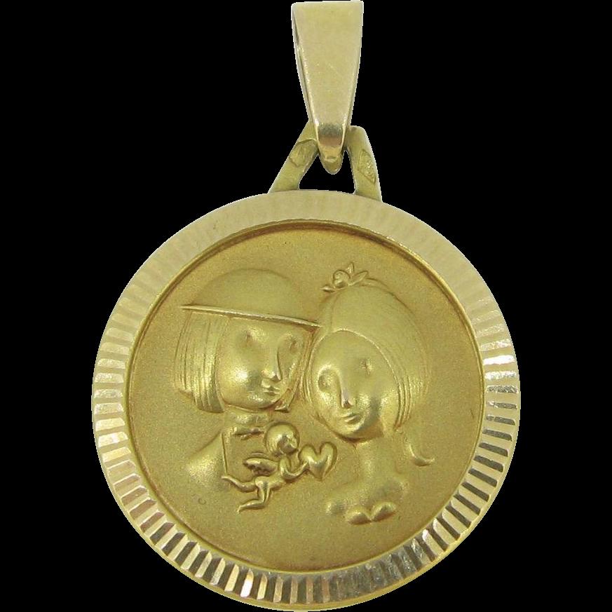 French Vintage medal : les Amoureux de Peynet (Peynet Lovers), by MURAT 18kt gold