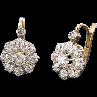 Lovely Antique French Diamonds dormeuses / earrings ~ c.1880