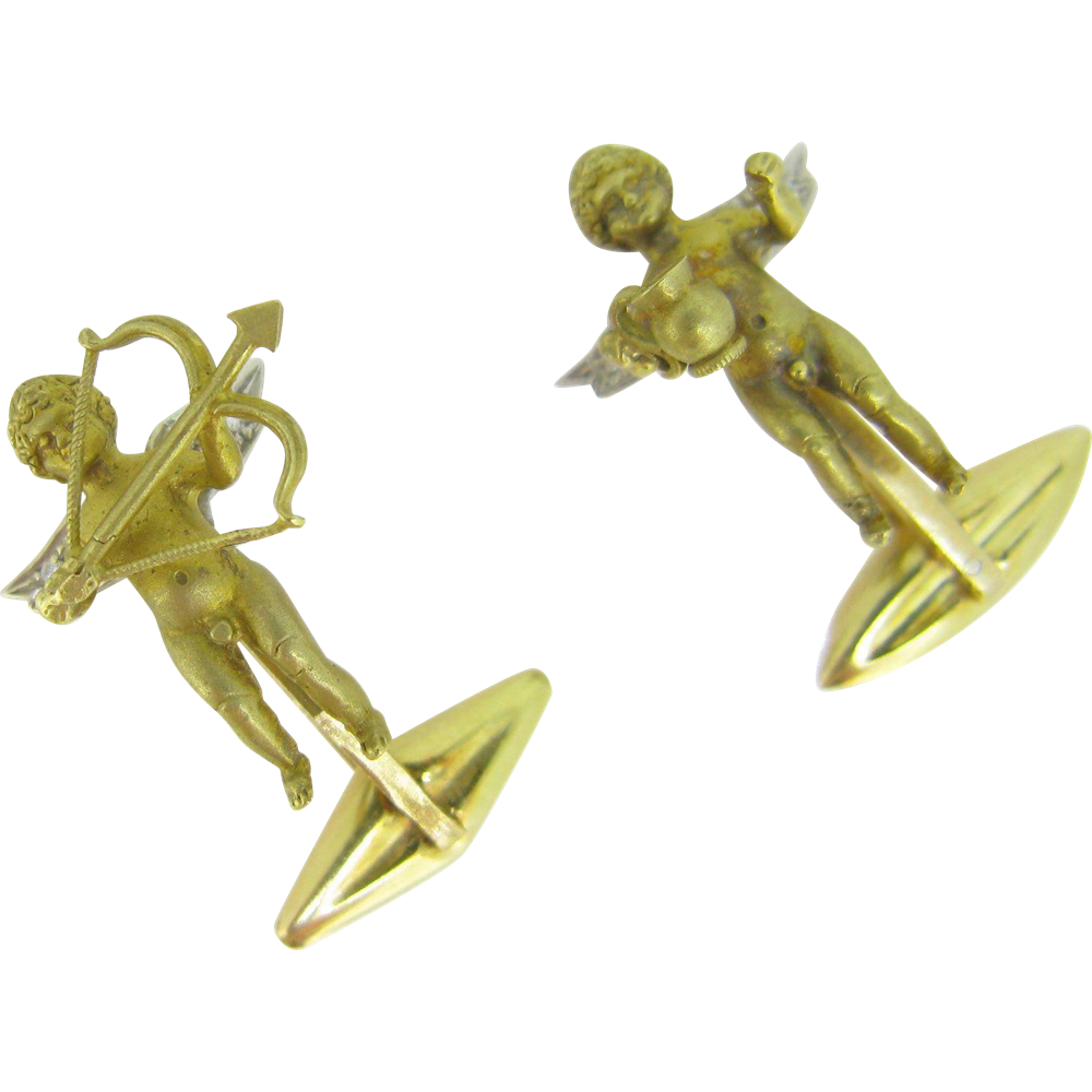 Vintage Cherubs cufflinks, 18kt gold and diamonds