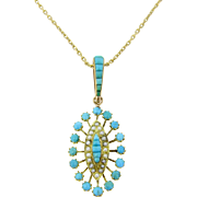 Antique French Turquoises and seed pearls pendant on 18kt gold chain, c.1880