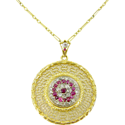 STUNNING Art Nouveau Ruby and Diamonds pendant on chain, 18kt gold and platinum, c.1905