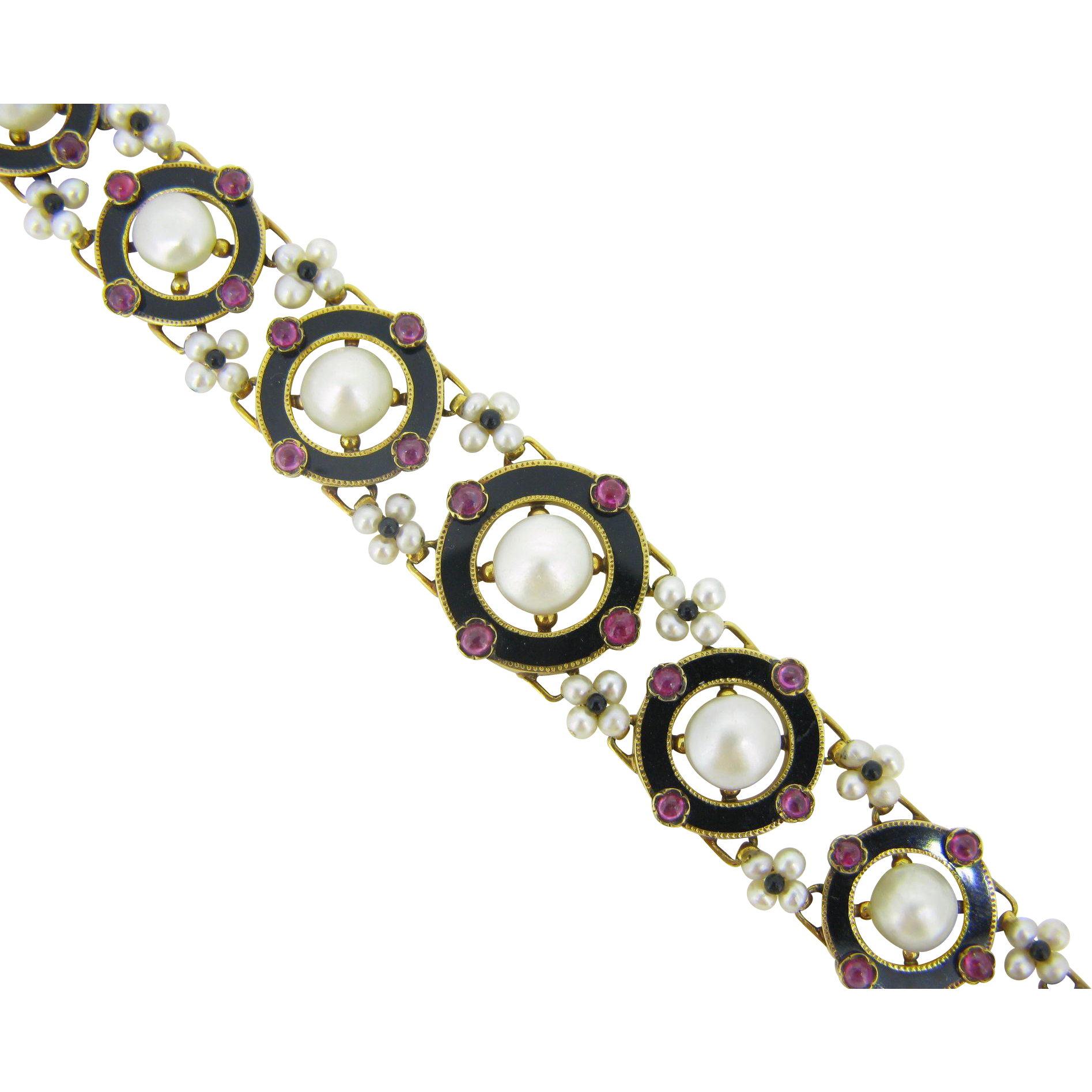 RARE Victorian Napoleon III Enamel, Naturals pearls and rubies bracelet, 18kt gold, c.1850