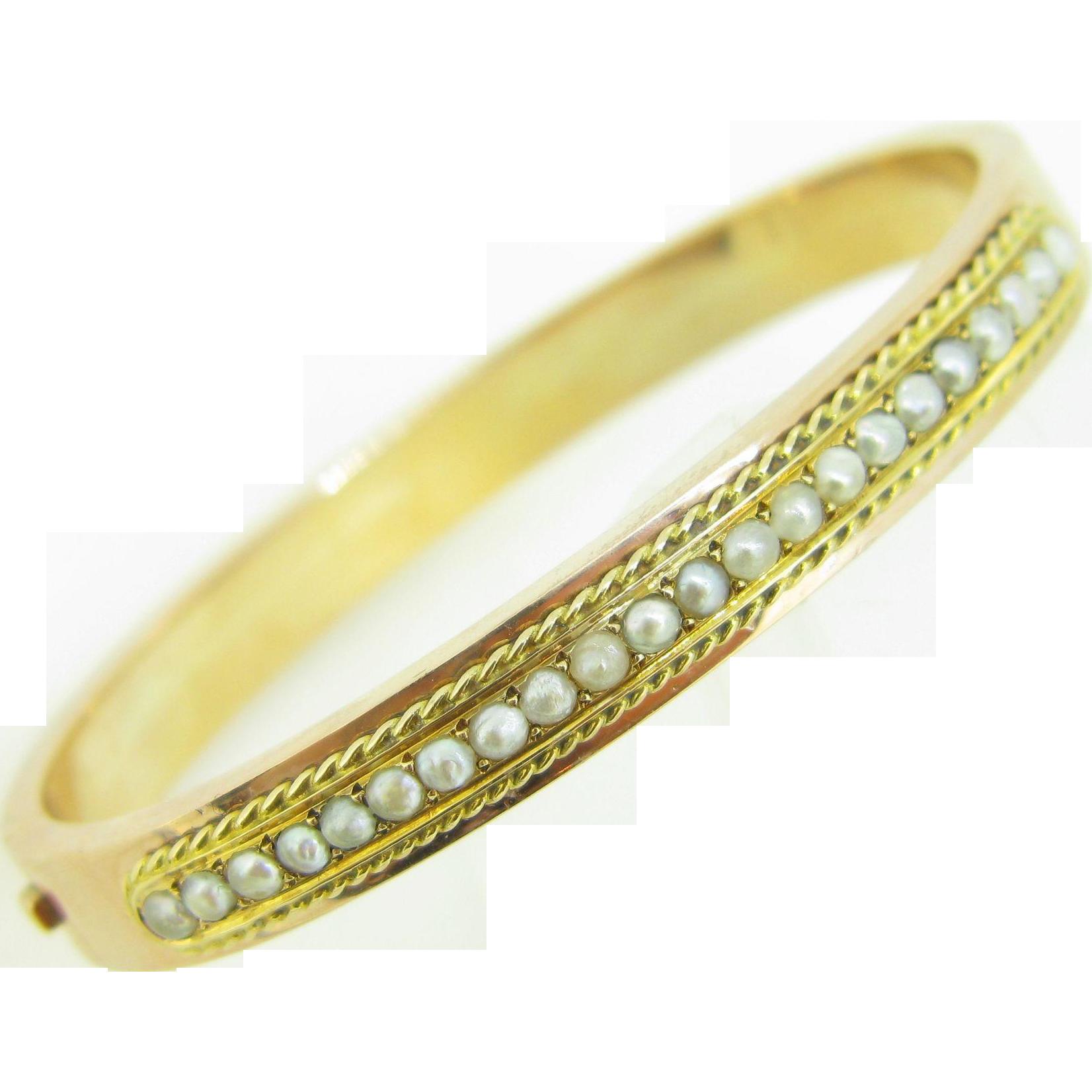 Antique Pearls bangle, 18kt rose gold, c.1880