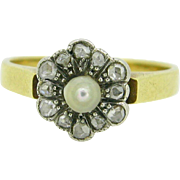 Antique Victorian Fine Pearl and diamonds ring, 18t gold and silver c.1880