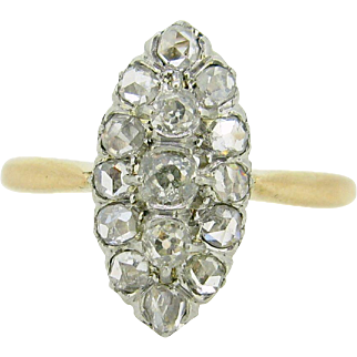 FRENCH Antique Belle Epoque Diamonds ring, c.1905, 18kt gold and platinum