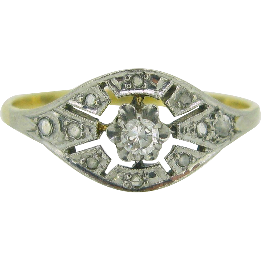 French Edwardian ring with diamonds, 18kt gold and platinum, c. 1910