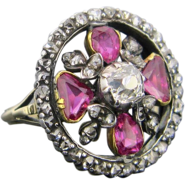 RARE Georgian Ruby and diamond ring, 18kt gold and silver, c.1830