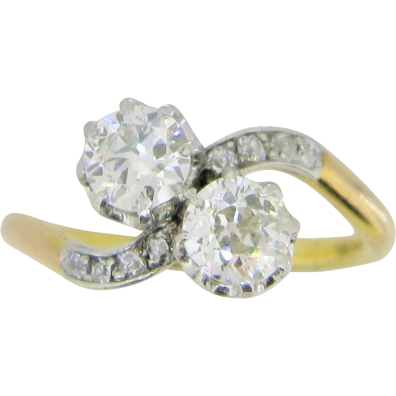 Antique CROSSOVER 2 diamonds ring, TOI ET MOI, 18kt gold and platinum