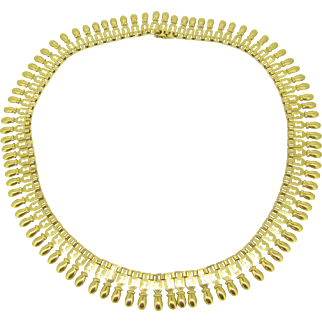 An unusually modern Antique French collar necklace by Peronnet, 18kt gold, c.1905