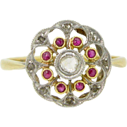 Lovely Airy Ruby and rose cut diamonds ring, 18kt gold and platinum, FRANCE, c.1905