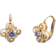 Lovely French Dormeuses, quadrilobe, 18kt gold and platinum, c.1880