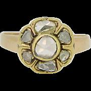 Antique Victorian rose cut diamonds ring, 18kt gold, c.1880