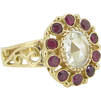 Stunning 1ct app Rose cut diamond ring with rubies, 18kt gold, c.1900 FRANCE
