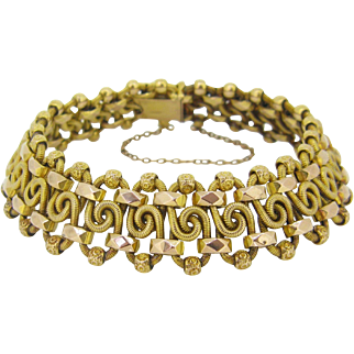 Antique French twisted gold Bracelet, 18kt rose and yellow gold, Art Nouveau, c.1900