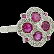 Art Deco Geometric Ruby and diamonds ring, platinum, c.1925