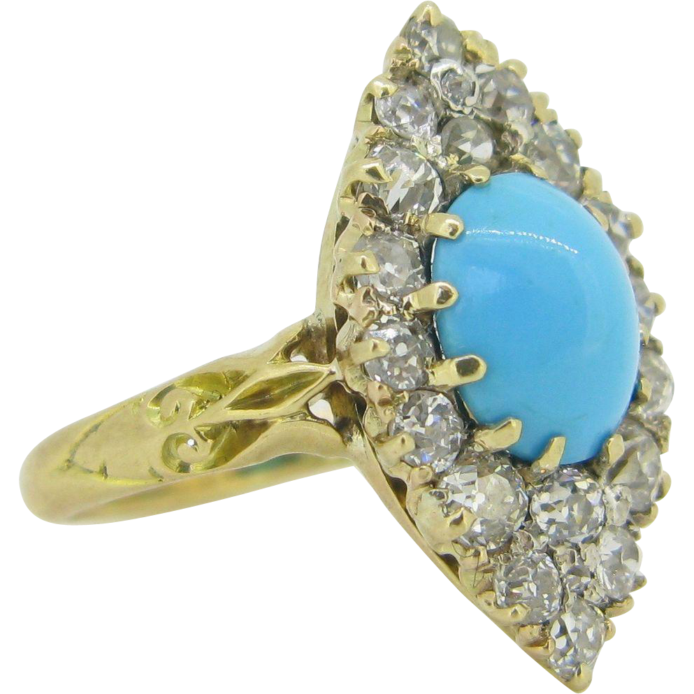 Victorian Turquoise diamonds ring, 18kt gold, c.1880