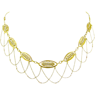 French festoon necklace with seed pearls, 18kt gold, Art Nouveau, c.1900