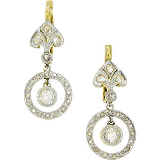 French Antique diamonds dormeuses / earrings, 18kt gold and platinum, c.1900
