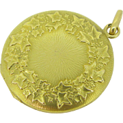 Antique Art Nouveau French Ivy locket, 18kt gold, c.1900