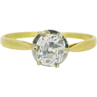 French Belle Epoque / Edwardian solitaire diamond ring, 18kt gold and platinum, c.1910