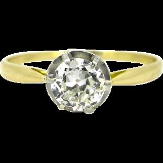 Antique Old mine cut diamond ring, 18kt gold and platinum, circa 1910