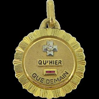 "A ""+ que hier - que demain"" French pendant/ love charm by A. Augis, c.1960"