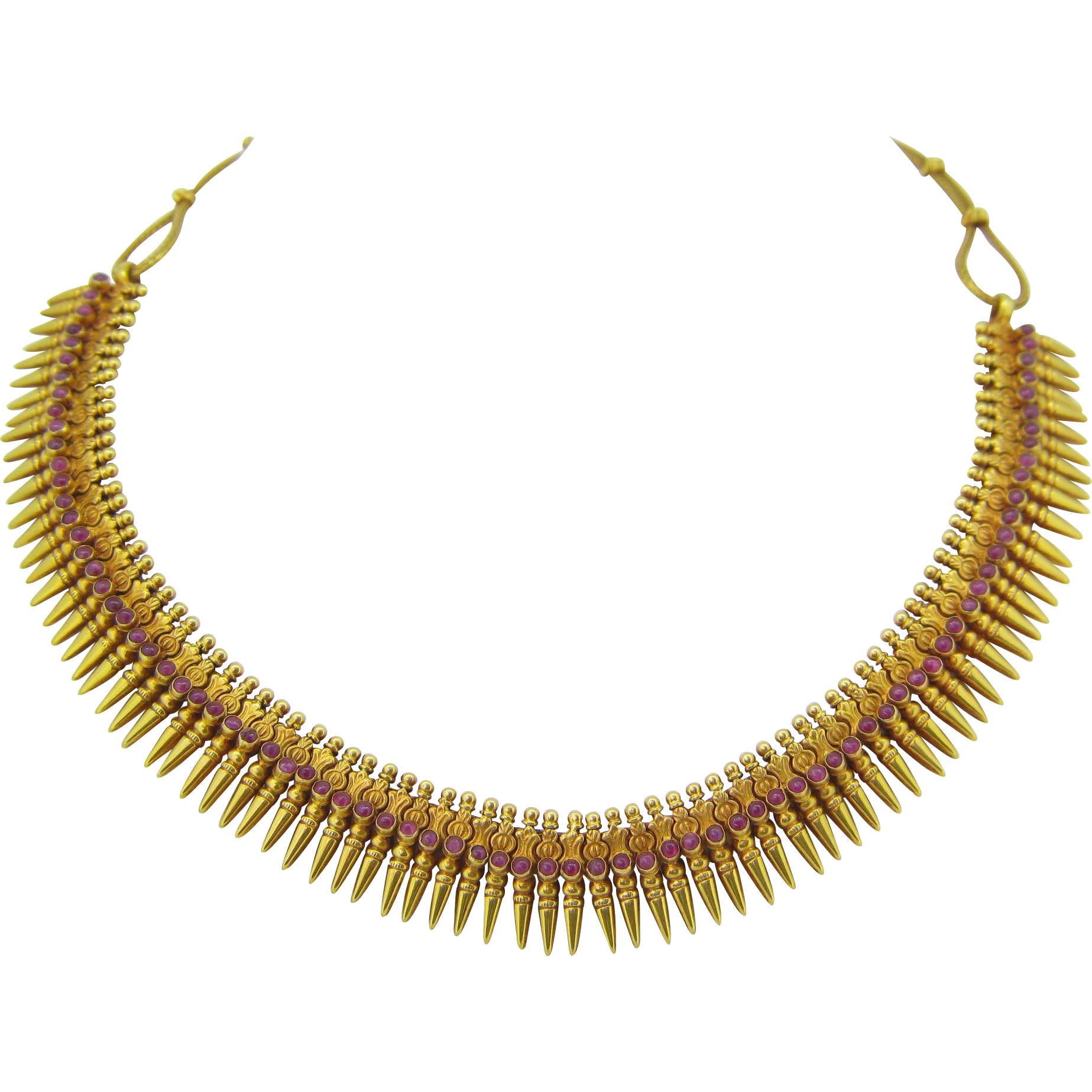 Antique Fringe collar - Etruscan Revival necklace - 18kt gold and rubies, circa 1860