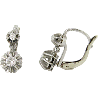 Antique French Dormeuses earrings, diamonds 18kt gold and platinum, c.1910