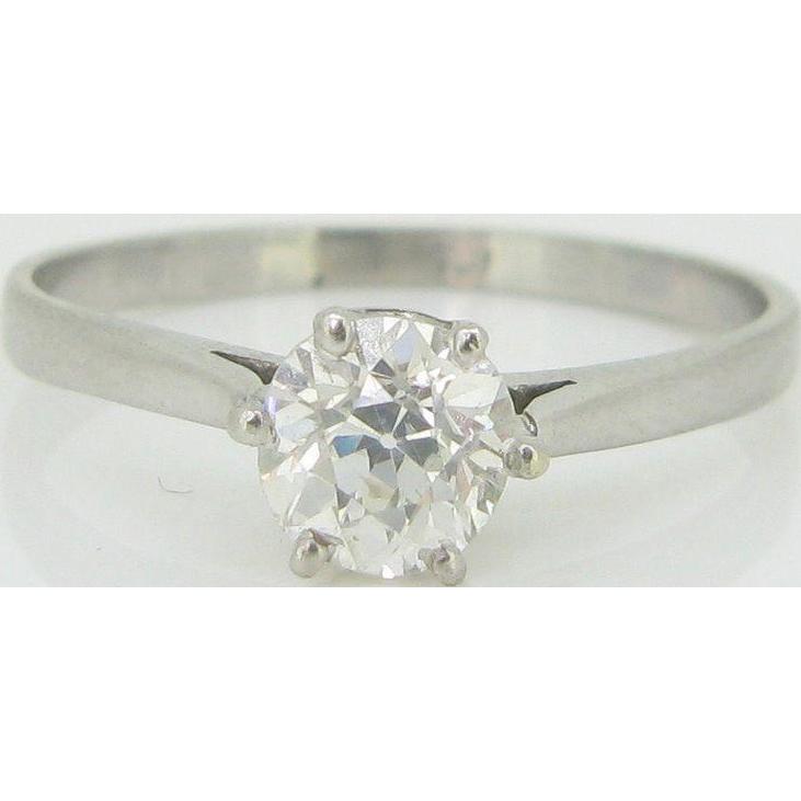 Solitaire ring, 1ct app old European cut Diamond, platinum, Art Deco 1930