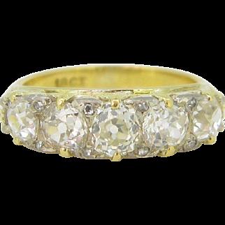 Victorian 5 diamonds ring, old mine cut diamonds, c.1880