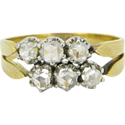 Unique Edwardian 6 rose cut diamonds ring, 18kt gold and platinum, circa 1910