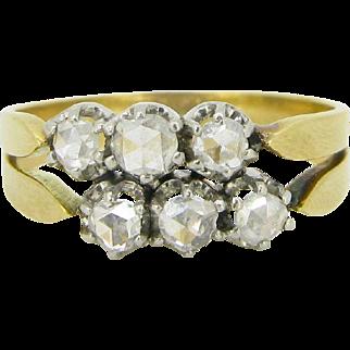 Unique Edwardian 6 rose cut diamonds ring, 18kt gold and platinum, circa 1910