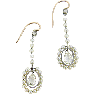 RARE Beautiful Briolette cut diamonds and pearls earrings, 18kt gold and platinum, c.1910