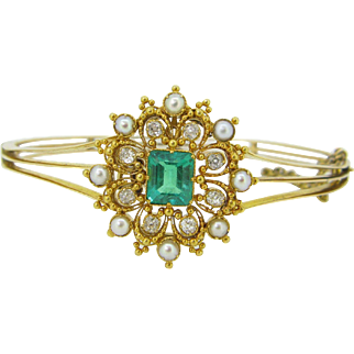 STUNNING Victorian bangle, convertible into a brooch, emerald, pearls and diamonds, 18kt gold c.1880