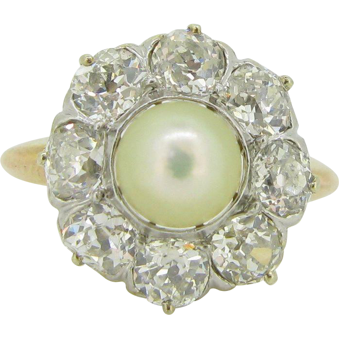 Edwardian Pearl and diamonds ring, 14kt gold and platinum, c.1910