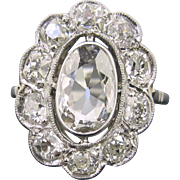 RARE 1ct App Table cut diamond cluster ring, 18kt gold and platinum, circa 1910